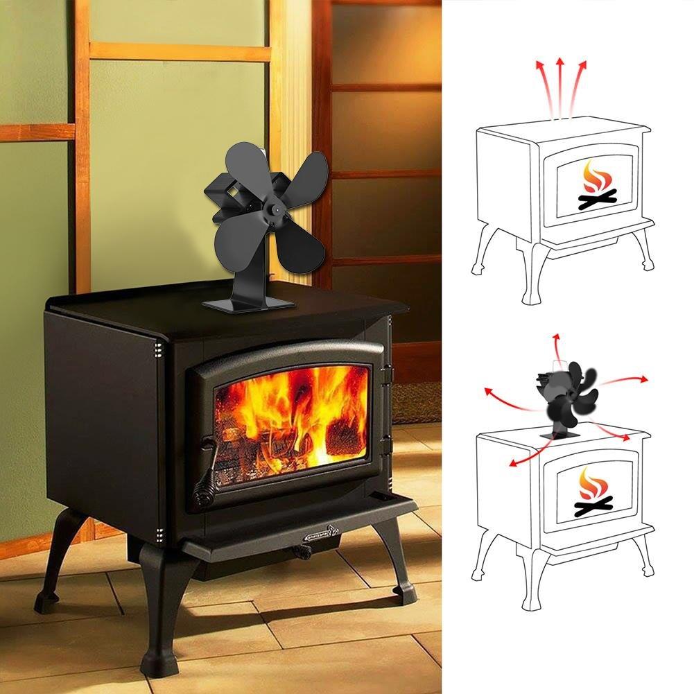 Ventilador silencioso para estufas con ventilador de calefacción, 4 aspas ajustables para quemador de leña/leña, chimenea: Amazon.es: Bricolaje y ...