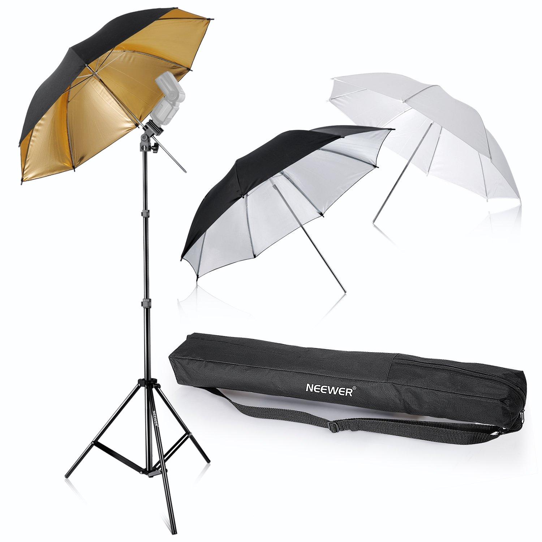Neewer Flash Mount Three Umbrellas Kit 33''/84cm White Soft/Silver Reflective/Gold Reflective Umbrella for Canon 430EX II,580EX II,Nikon SB600 SB800,Yongnuo YN 560,YN 565,Neewer TT560,TT680