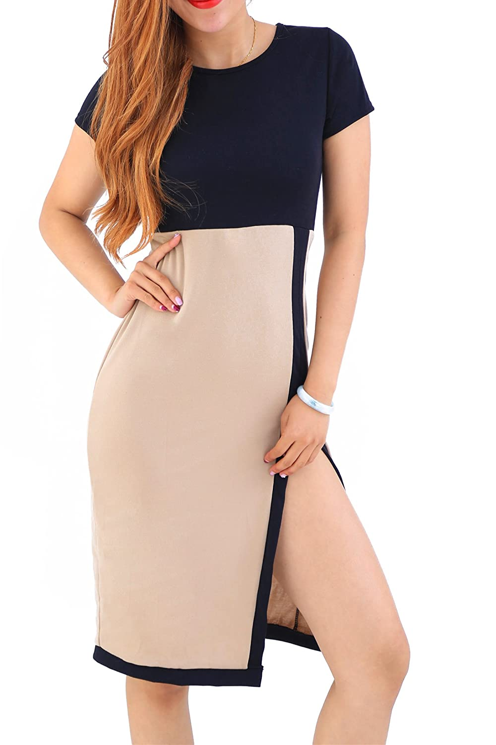 Yming Frauen Short Sleeve Tragen Casual Dress Bleistift Geschäfts Partei Bodycon to Work