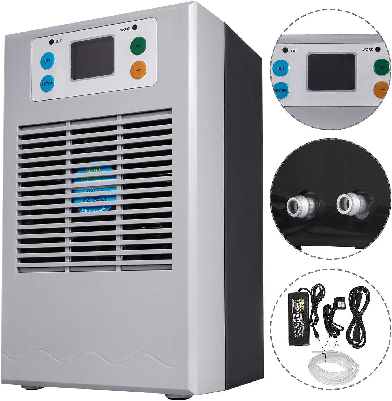 VEVOR Refrigeratore per Acquario 70 W 20 L, Raffreddatore d'Acqua per Acquario 11,4 x 11,2 x 19,2 cm, Raffreddatore d'Acqua per Acquario, Radiatore Marino per Acquario con Tubo da 2 m, Colore Grigio