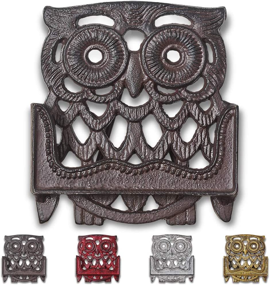 Immokaz Vintage Cast Iron Business Card Holder for Desk Owl Figurine Design Durable Rustic Frame Multipurpose Display Stand Heavy Duty Antique Metal Stand Decorative Home and Office (Antique Brown)