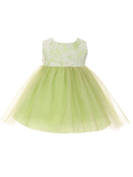 3214ee68c Kids Dream Baby Girls Green Lace Illusion Tulle Flower Girl Dress 24M