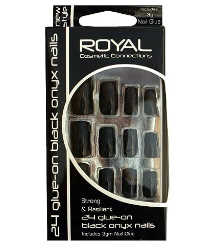 Royal Black Onyx Kit De 24 Uñas Postizas Negras Y Pegamento – 3g
