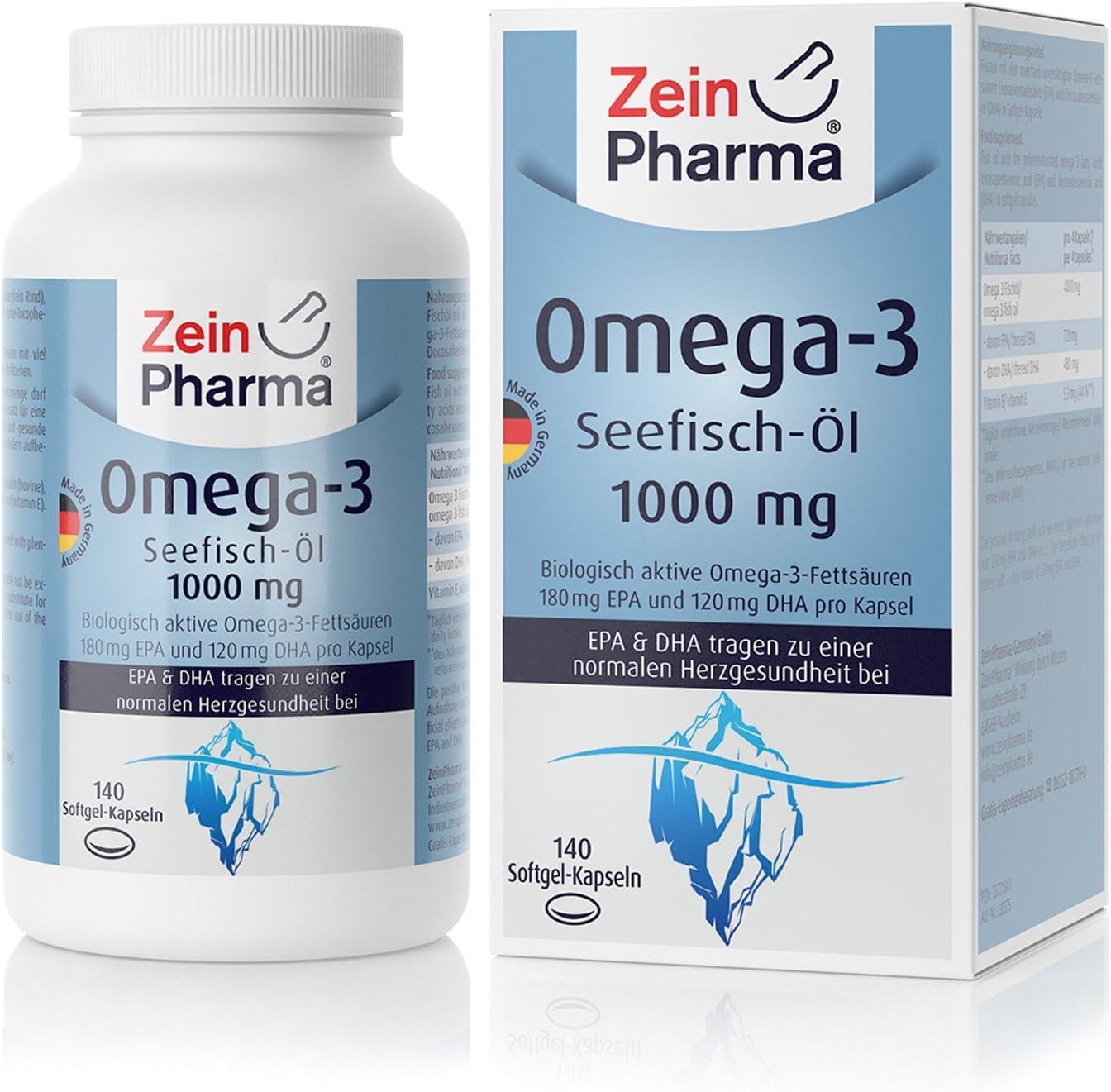 Cápsulas de Omega-3 Aceite de Pescado 1000mg de ZeinPharma • 140 cápsulas softgel (un mes de suministro) • con EPA, DHA y Vitamina E • Hecho en Alemania: Amazon.es: Salud y cuidado personal