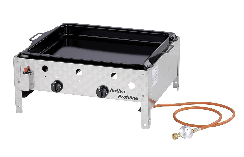 Activa 2-flammiger Gastrobräter mit emaillierter Pfanne Silber Activa Grillküche GmbH