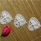 Ruban en dentelle à fleurs et perles 3D de 1,8 m - 5.2cm de large - Style vintage - Tissu brodée - Pour coudre vêtements, robes de mariée, chapeaux