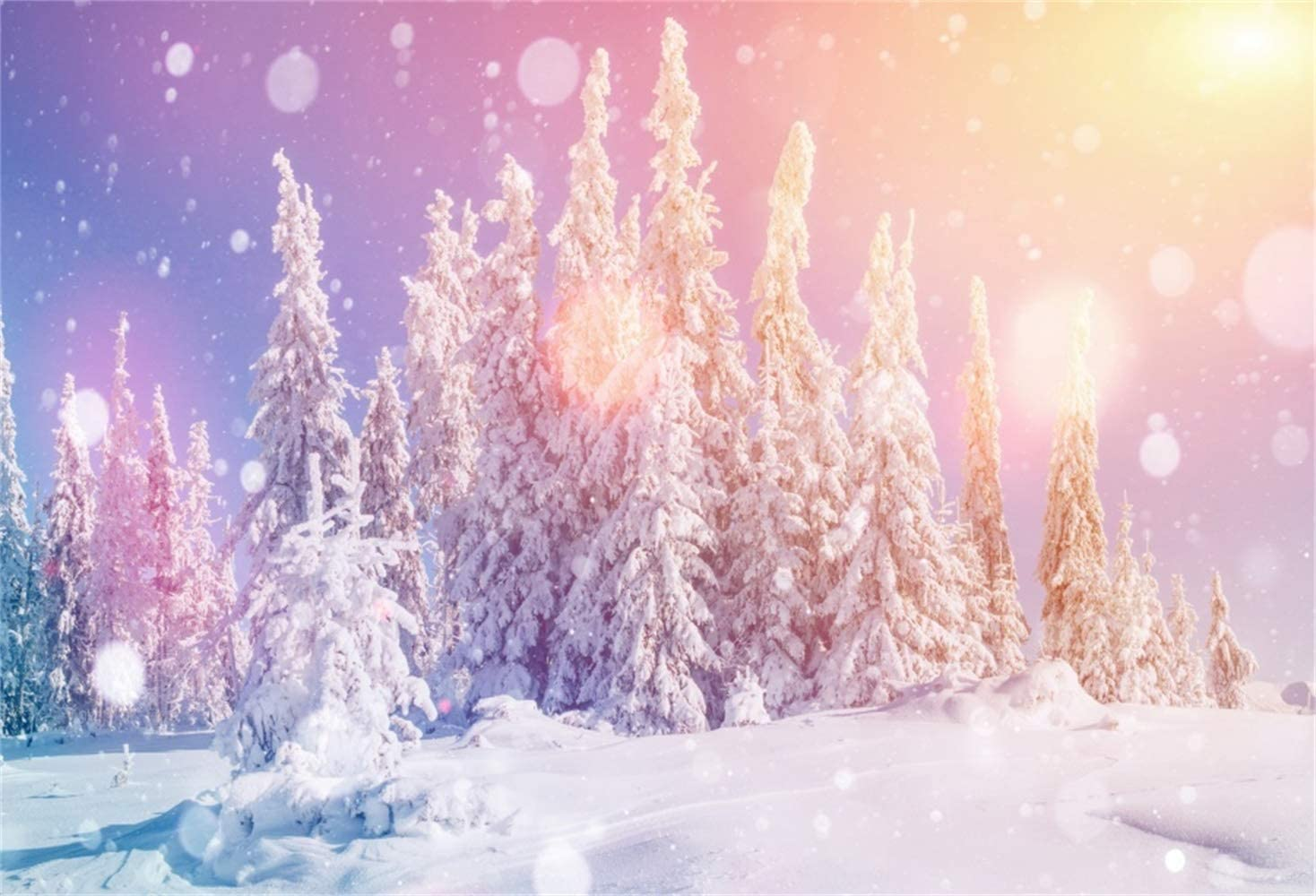 Twilight Snowscpae Backdrop Polyester 10x6.5ft Winter Snowy Forest Flying Snow Frosty Trees Background Child Kids Baby Adult Portrait Shoot New Year Xmas Eve Party Banner Scenic Wallpaper