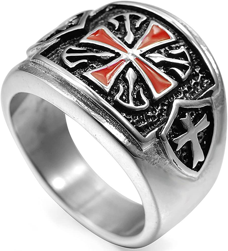 Stainless Steel Crusader Cross Warrior Biker Knight Ring