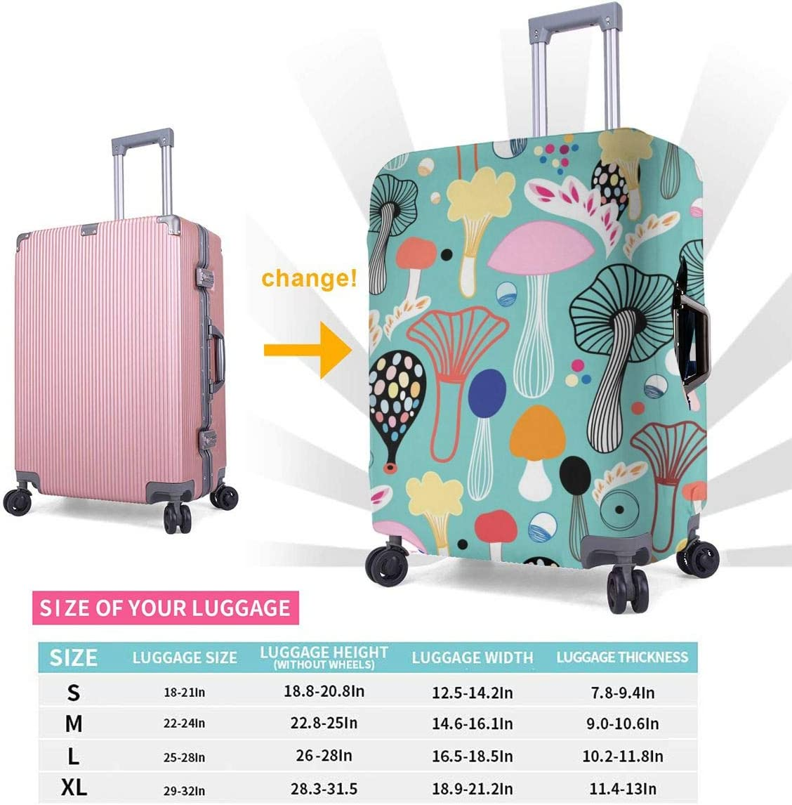 Colorful Mushrooms Travel Luggage Cover Suitcase Protector Washable Zipper Baggage Cover
