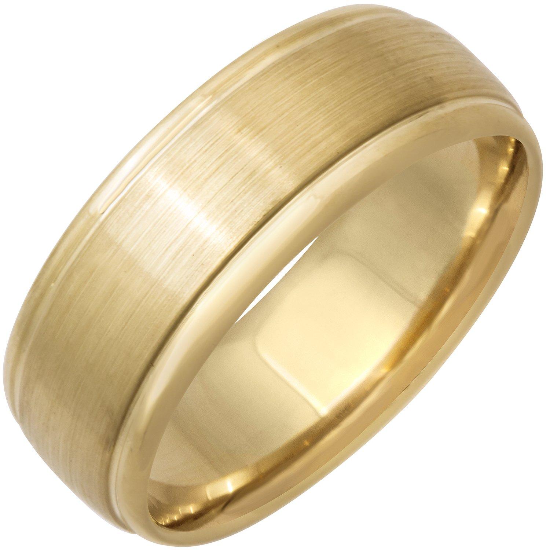 14K Yellow Gold Center Stripe Men's Comfort Fit Wedding Band (8mm) Size-14c1