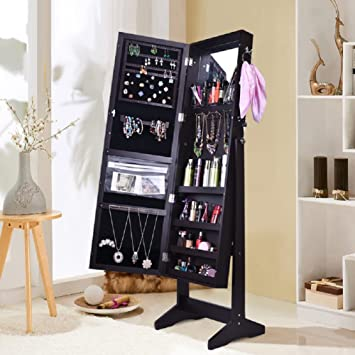 Shelving Solutions Jewelry Cabinet Armoire, Mirrored Jewelry Armoire With  Stand, Black