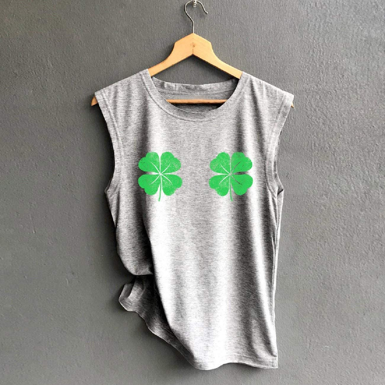 ST Patricks Day Four-Leaf Clover Print T-Shirt for Womens Tank Tops Summer Casual Loose Short Sleeve Sleeveless Vest