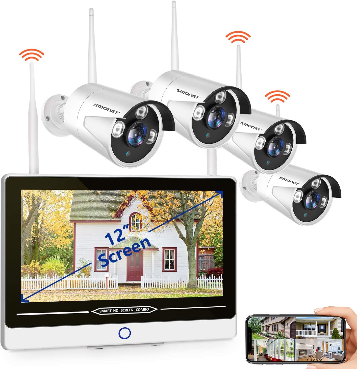 """SMONET All in One with 12"""" Monitor 1080P Security Camera System Wireless,8-Channel Outdoor Home Camera System,4pcs 2.0MP(1080P) Waterproof Wireless IP Camera,P2P,Free APP,No Hard Drive"""