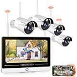 """SMONET All in One with 12"""" Monitor 1080P Security Camera System Wireless,8-Channel Outdoor Home Camera System,4pcs 2.0MP…"""