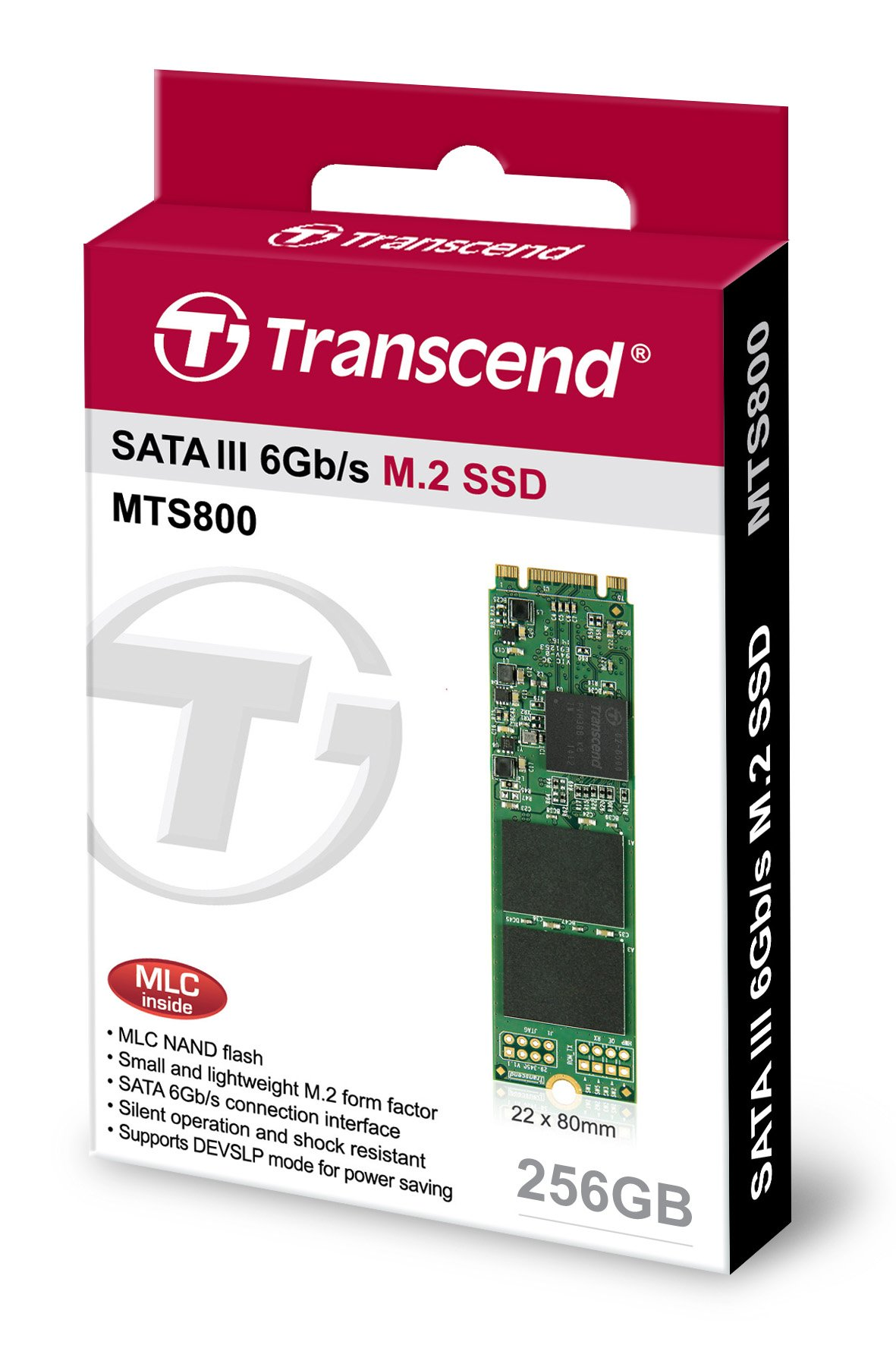 Transcend 256GB SATA III 6Gb/s MTS800 80 mm M.2 Solid State Drive (TS256GMTS800S) by Transcend
