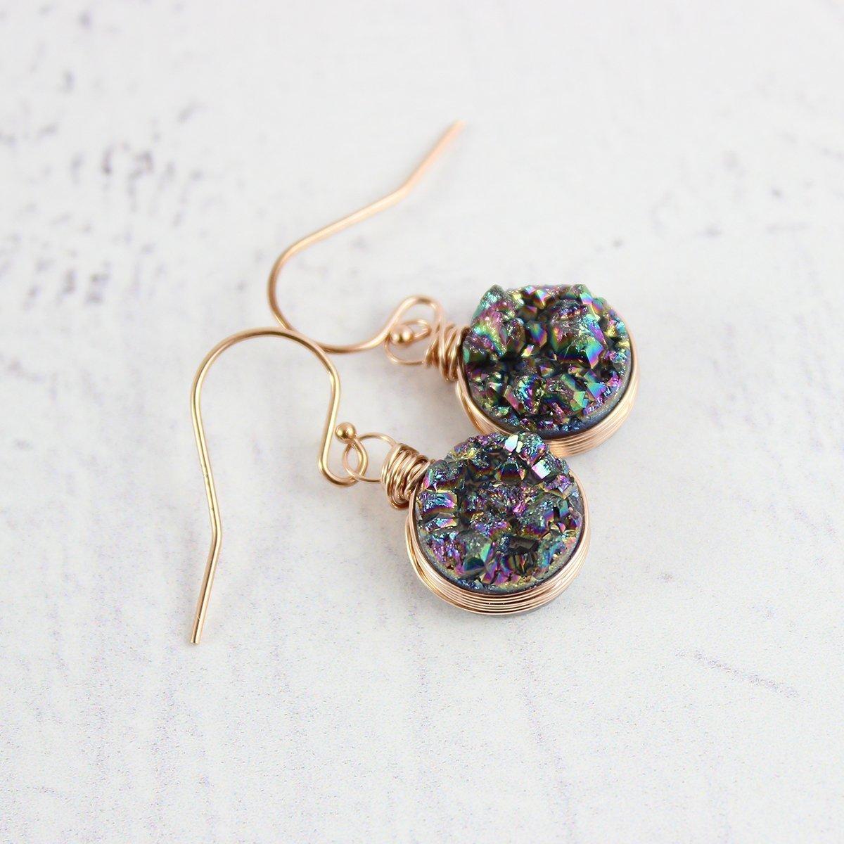 Rainbow Druzy Geode Rose Gold Drop Earrings