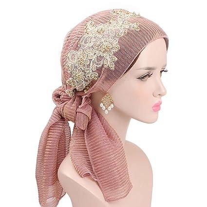 Lergo Mujeres Musulmana Floral Bufanda Sombrero Elástico Turban Larga Cola Headwear Cáncer Chemo Cap, LP