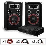"""DJ12 - Set de sono DJ avec ampli, 2 enceintes 1000W et cablage (haut-parleurs 8"""", 93dB SPL max, montage rack)"""