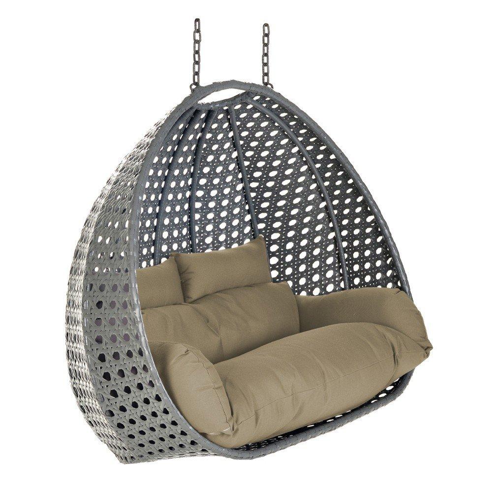 Home Deluxe Polyrattan Hängesessel KORB Twin XXL | inkl. Sitz- und Rückenkissen | grau