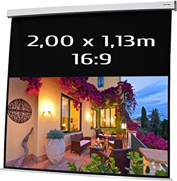 KIMEX 042 3413 Ecran de Projection électrique 2,00 x 1,13m, Format 169, Carter Blanc