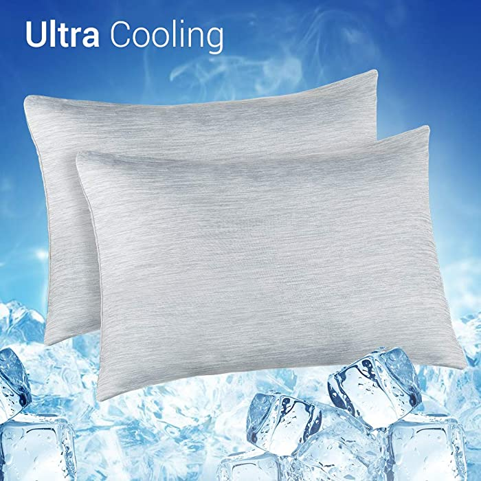 LUXEAR Pillowcase, Warm Cooling Double-Side Design Pillow Cover with 100% Cotton, Japanese Q-Max 0.4 Cooling Fiber, Breathable Soft, Eco-Friendly, Hidden Zipper Design, Standard Size - 2 PACK