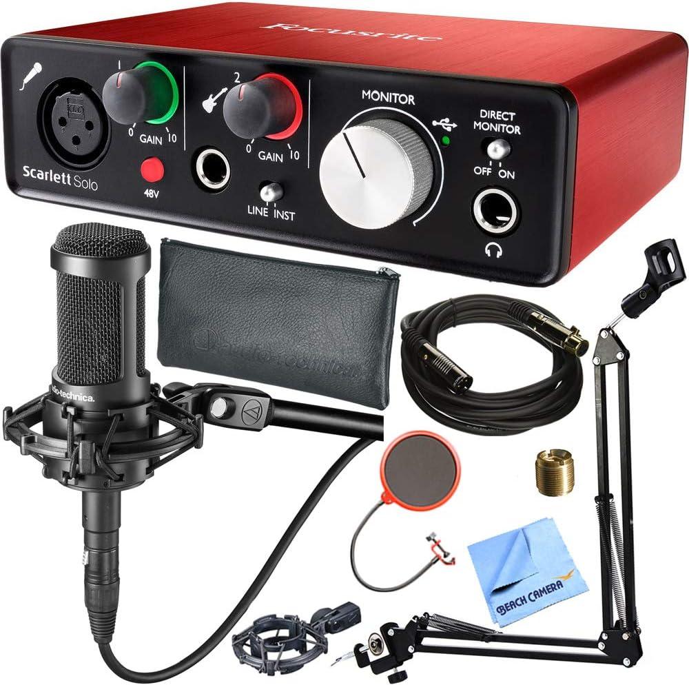 Focusrite Scarlett Solo (2nd Gen) Interfaz de audio USB con Pro Tools Plus Audio-Technica AT2035 Micrófono de condensador y DecoGear Pop Filtro de viento con soporte de micrófono Studio Bundle: Amazon.es: Instrumentos