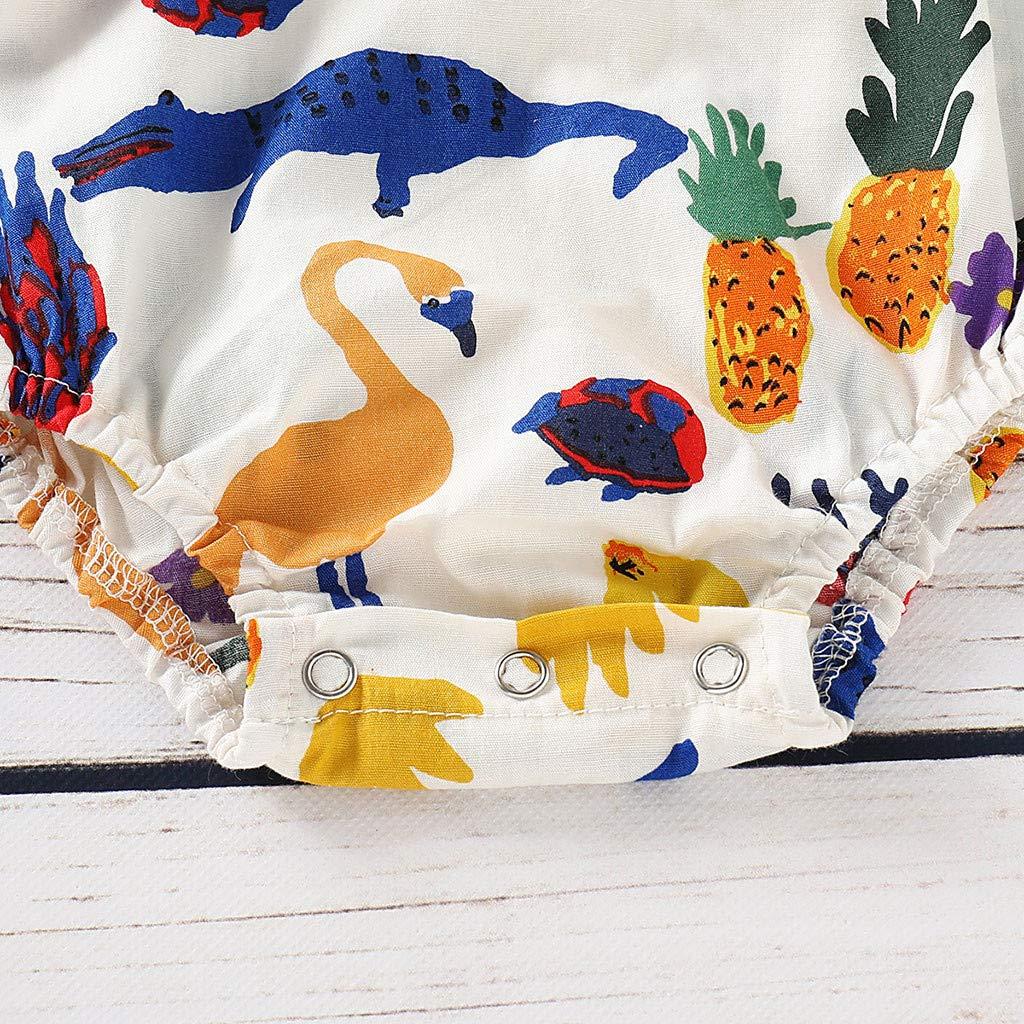 LiLiMeng Infant Baby Boys/&Girls Sleeveless Cartoon Dinosaur Print Lace Romper Bodysuit