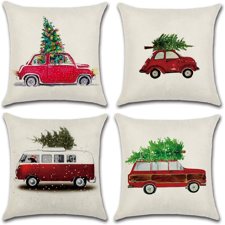 Aremazing Red Truck with Christmas Tree Cotton Linen Home Decor Pillowcase Throw Pillow Cushion Cover 18 x 18 Inches Set of 4 (Christmas Tree & Car)
