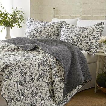 Grey Floral Bedspreads Quilt Set For Teen Girls Bedroom, Reversible, 100%  Cotton,