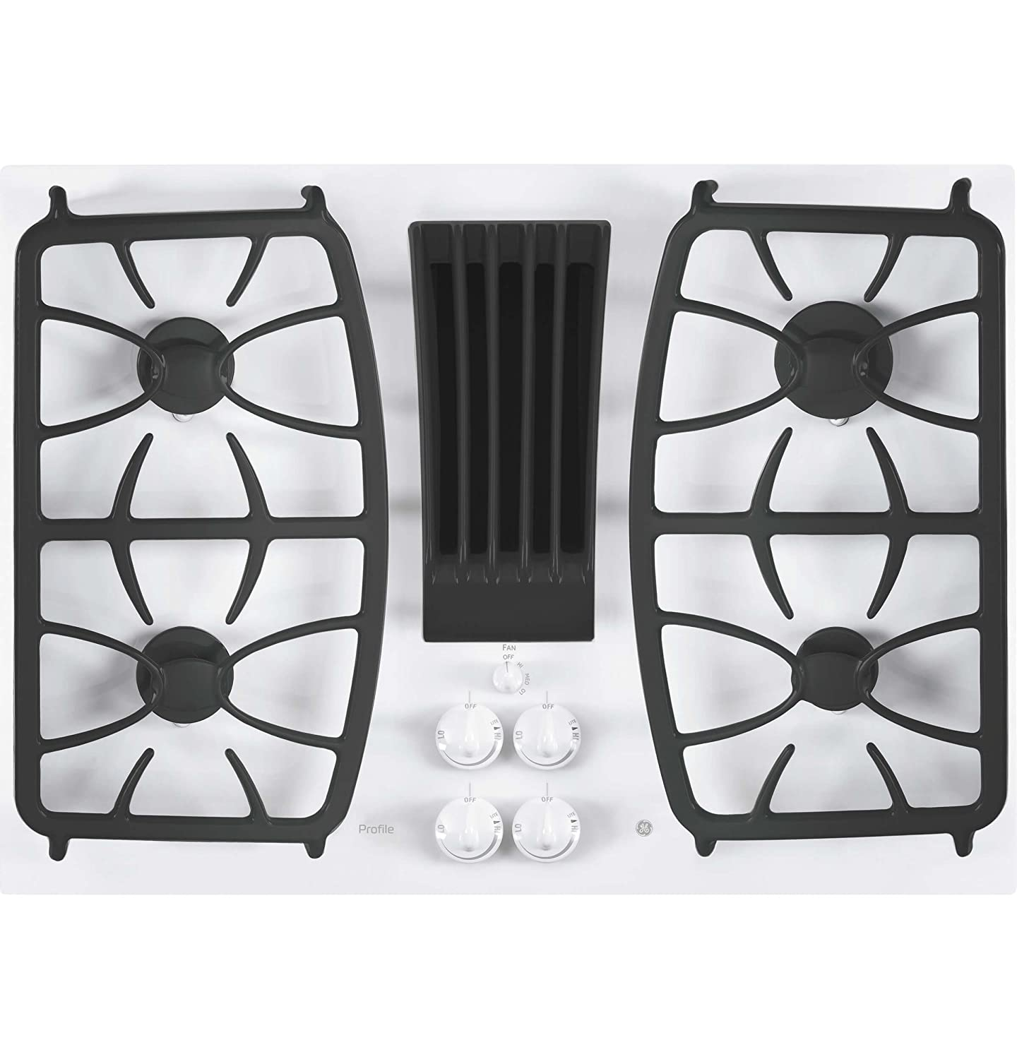 """GE Profile 30"""" Built-In Gas Downdraft Cooktop White PGP9830TJWW"""