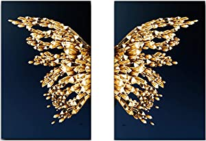 """YQLKC Canvas Posters Golden Wall Art Golden Butterfly Wing Painting Nordic Minimalist Picture for Living Room Decor 27.5""""x35.4""""(70x90cm) x2 Frameless"""