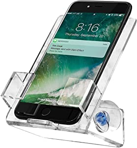 House Ur Home Updated Stronger Bathtub & Shower Cell Phone Case Stand Holder Caddy Tray Mount Two Powerful Strong Suction Cups Phones I Phone Galaxy. Clear Acrylic One Year Warranty