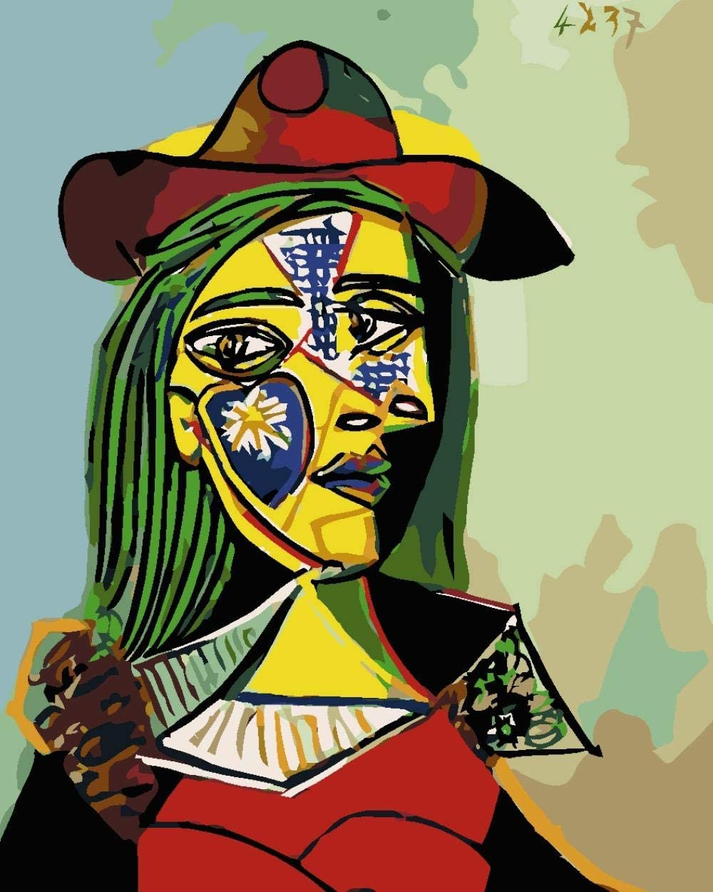 Pintar por Numeros Adultos DIY Kit Facil Cuadro Abstracto Picasso para niños de Pintura al óleo Principiantes Regalo Decoración del hogar 40x50 cm