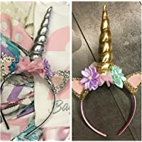 Party Propz Magical Unicorn Headband, Golden/Pink for Unicorn Birthday Decoration