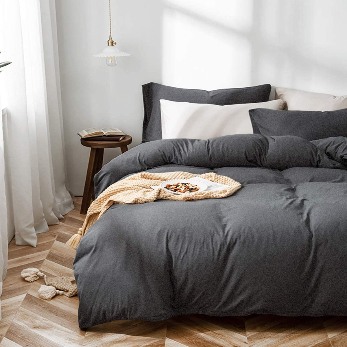"""Dark Gray Duvet Cover Set 100% Washed Cotton 3 Pieces 1 Jersey Knit Duvet Cover 90""""x90 with Zipper Closure and 2 Pillowcases Simple Solid Color Design Ultra Soft and Breathable(Dark Gray,Full/Queen)"""