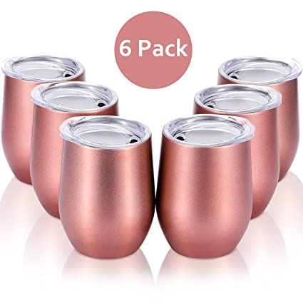 aa2d4ba9777 Skylety 6 Pack 12 Oz Unbreakable Drink-Ware Stemless Wine Tumbler,  Stainless Steel Triple-Insulated Vacuum Wine Glass Cup with Lids for Wine,  Coffee, ...