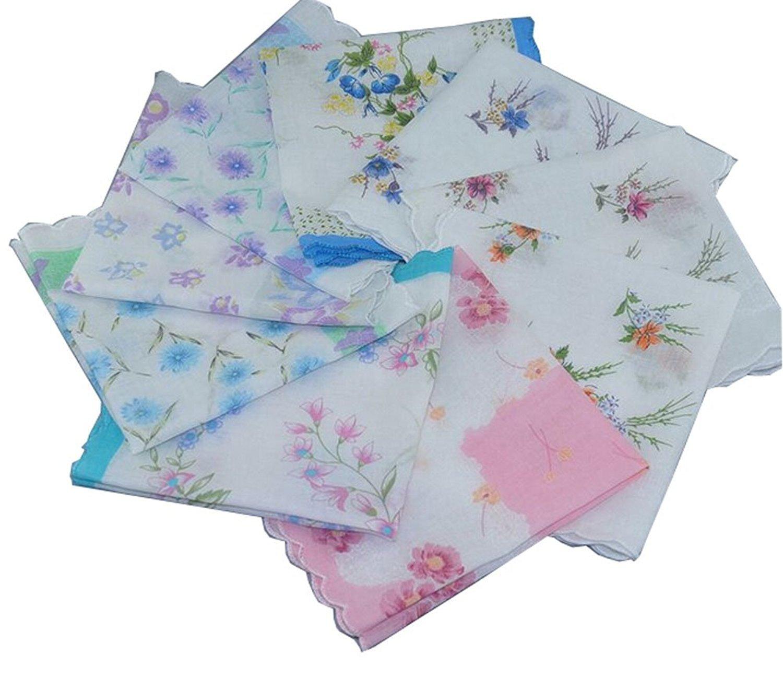 Forlisea Womens Beautiful Cotton Floral Handkerchief Wendding Party Fabric Hanky 20pcs
