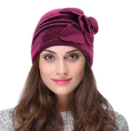 14c453d984bcd Vbiger Caliente Sombrero para Invierno Gorro de Lana con Flor de Decoración  para Mujer (Fucsia