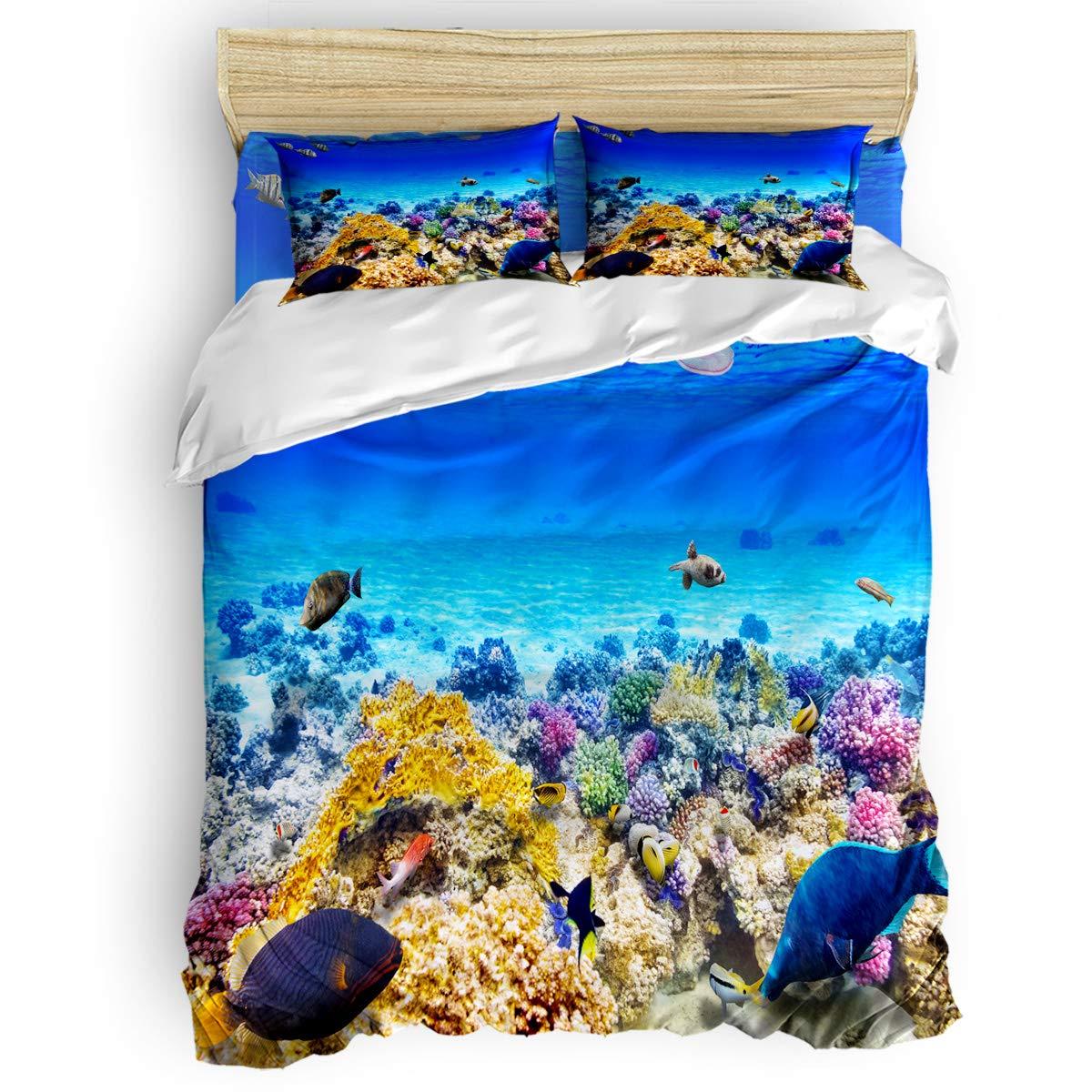 掛け布団カバー 4点セット 抽象的なビーチパターン イエロー 寝具カバーセット ベッド用 べッドシーツ 枕カバー 洋式 和式兼用 布団カバー 肌に優しい 羽毛布団セット 100%ポリエステル ダブル B07TC3LDR2 Coral reefLAS4320 ダブル