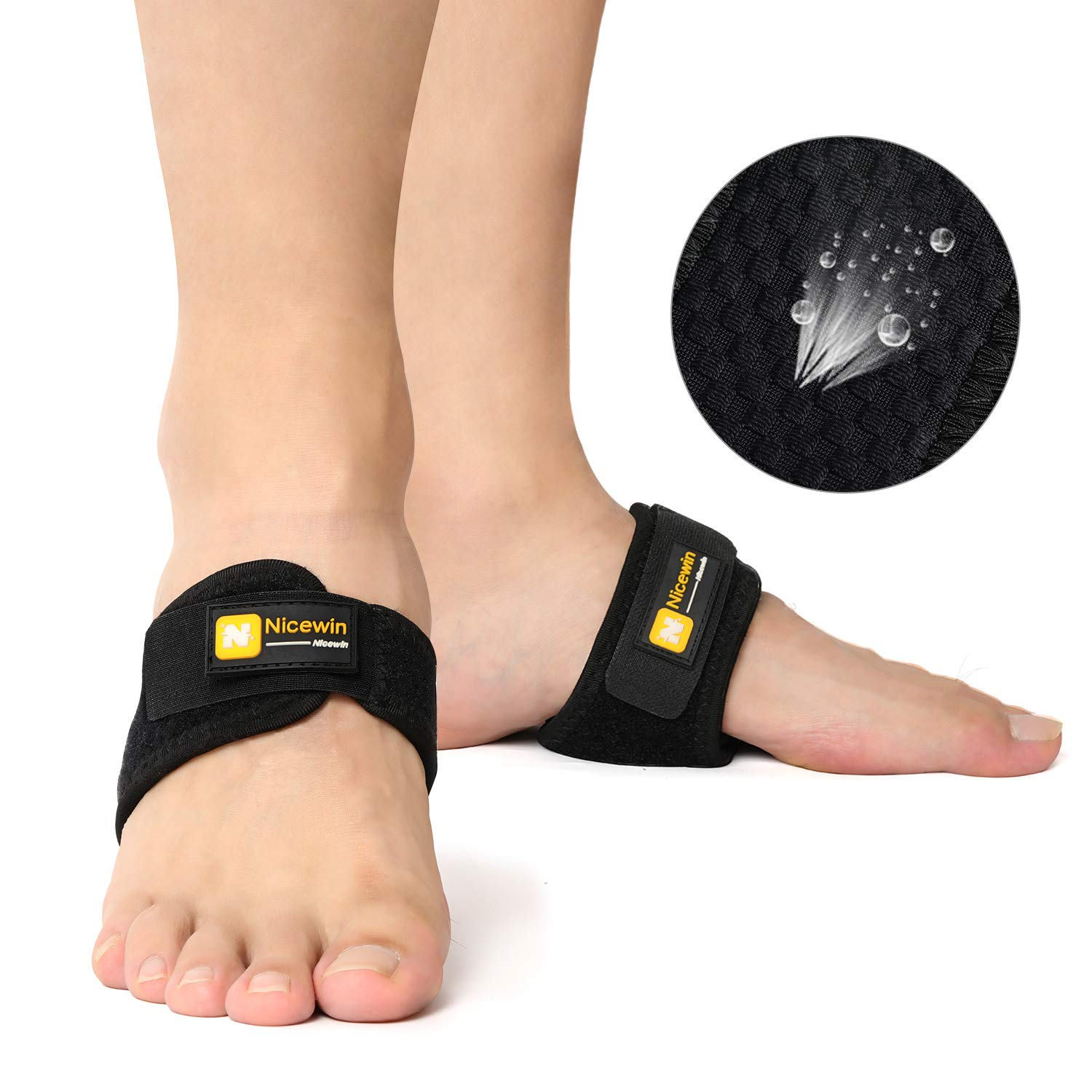 Arch Support Brace Adjustable Strap Snug Fit Cushions for Men Women Pain Relief of Drop Foot, Flat Feet, High Arches, Heel Spurs, One Size Fits Most by NICEWIN
