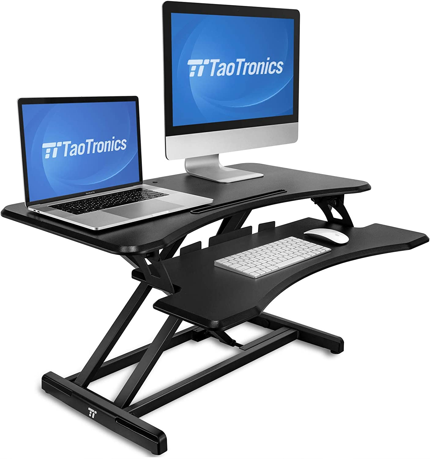 Standing Desk Converter, TaoTronics 36 inch Stand Up Desk Sit to Stand Desk Adjustable Riser, Fit Dual Monitors with Removable Keyboard Tray Ergonomic Workstation
