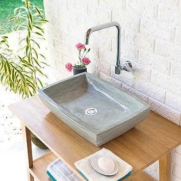 Wohnfreuden Sandstein Aufsatz Waschbecken Mara 50x35x12 Cm Grau