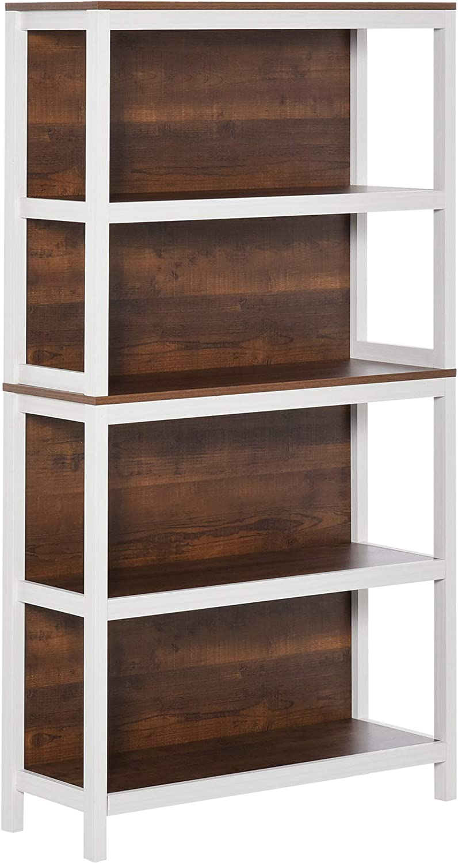 HOMCOM 4 Tier Bookshelf Utility Storage Shelf Organizer with Back Support and Anti-Topple Design, Walnut/White