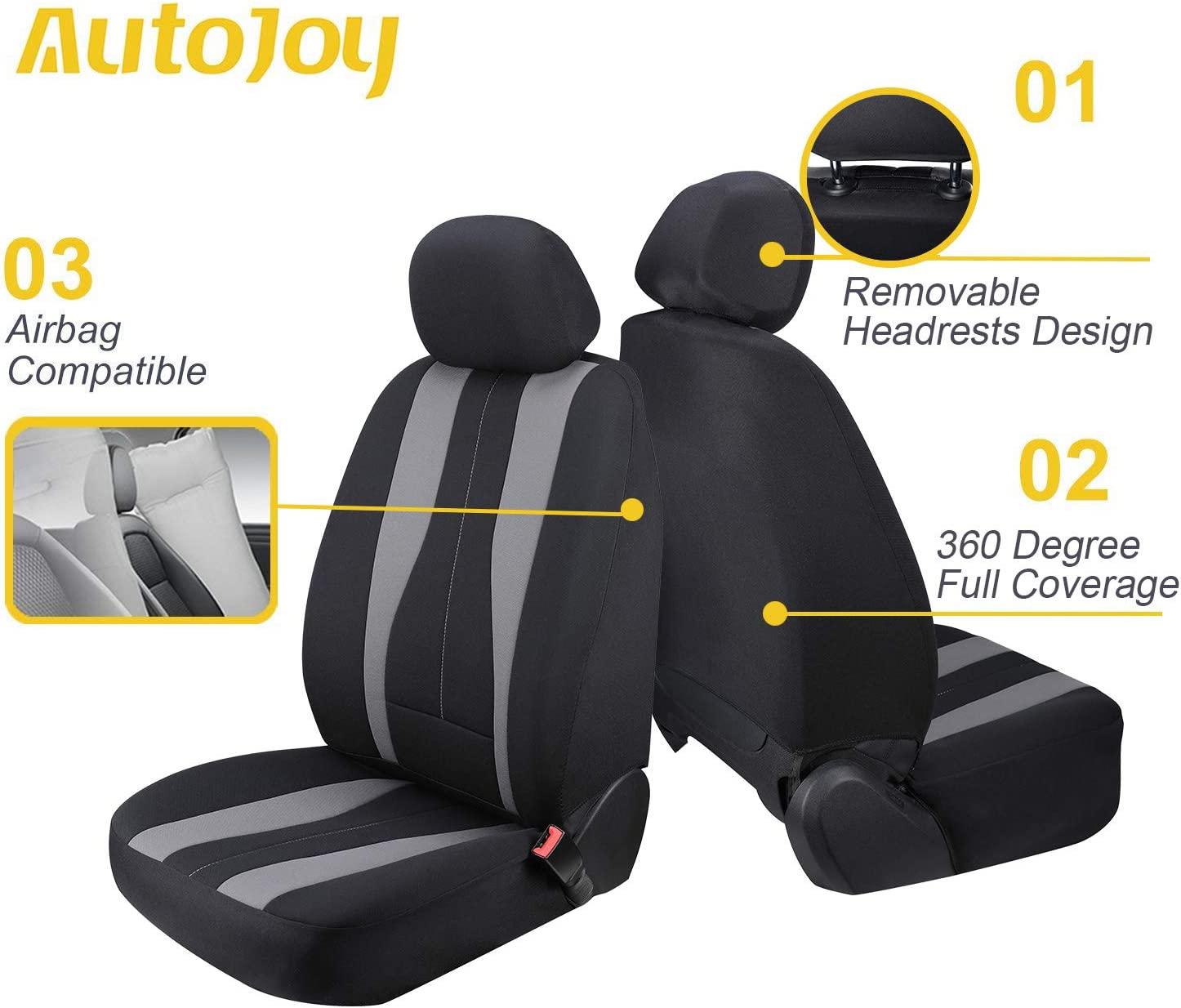 2 PC Waterproof Bucket Seat Covers Universal Fit Airbag Compatible for Trucks SUV AutoJoy Car Seat Covers Front Seats Only