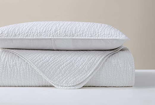 Sterling Creek 3-Piece Solid White Soft-Washed Linen Cotton Quilted Coverlet Set