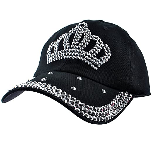 Elonmo Cute Crown Baseball Cap Silver Jewel Rhinestone Bling Hats ... 34039e9d4ad