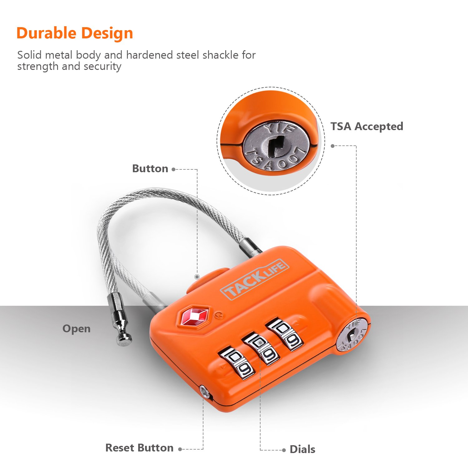 Luggage Locks, TACKLIFE HCL1A Cable Locks, TSA Approved Travel Locks, Flexible Locks, 3Digit Combination Locks for Gym, School, Locker, Outdoor, Fence, Suitcase & Baggage - Orange by TACKLIFE (Image #3)
