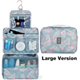 Hanging Travel Toiletry Bag Cosmetic Make up Organizer for Women and Girls Waterproof (Large Flamingo)