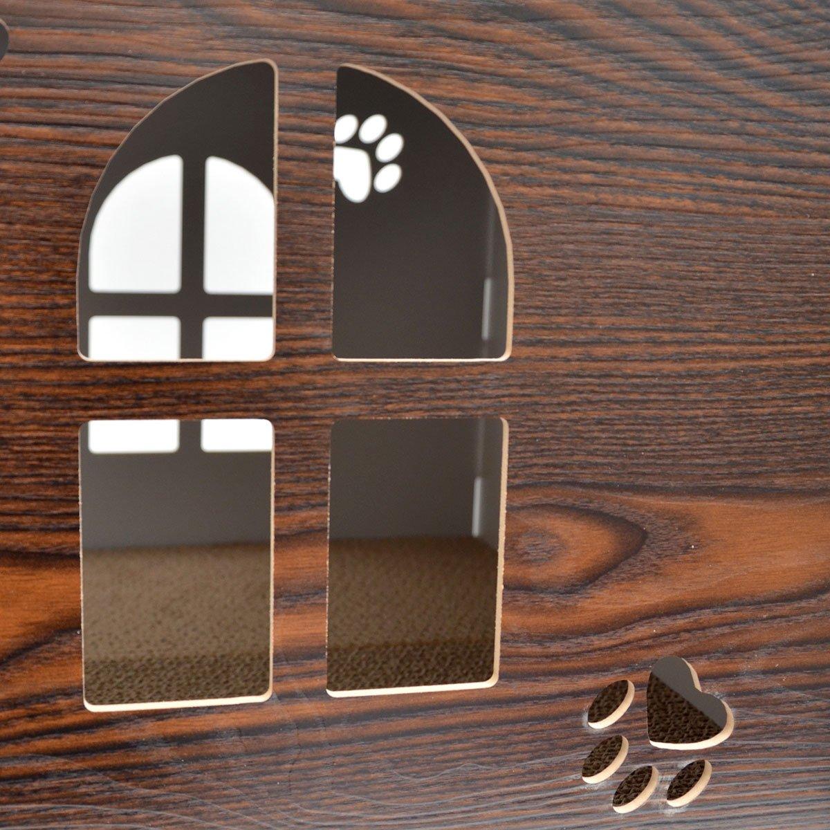 eyepower Cama para Gato 46x46x46cm talla grande L caja cuadrada para mascota con tapa acolchada para sentarse reposapiés incl alfombra rascadora Marrón: ...