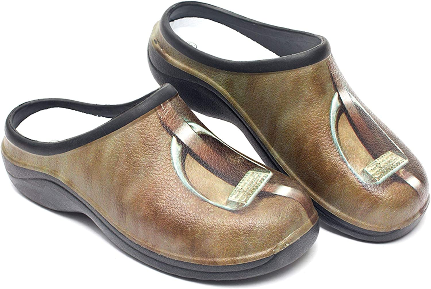 Backdoorshoes Waterproof Women's Premium Garden Shoes with Arch Support-Horse Print